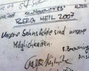 Neurathener Felsentor, Rathener Gebiet, Gipfelbuchspruch 2007