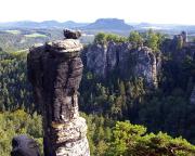 Wehlnadel, hier vor der großen Kulisse der Felsen an der Basteibrücke