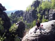 Stiegenwächter an der Rotkehlchenstiege, auf dem Gipfel