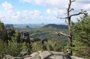 23 - Blick vom Langen Horn in den Affensteinen, Sächsische Schweiz, nach Durchsteigung der Häntzschelstiege