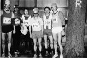 Rennsteiglauf 1987, mit Lauffreunden vor dem Start an der Hohen Sonne