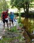 Jizersky Ultratrail 2015, Flußdurchquerung nach 15 km im Isergebirge