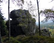 Rübezahlwand, Blick zur Westkante, rechts der Absatz des Alten Weges